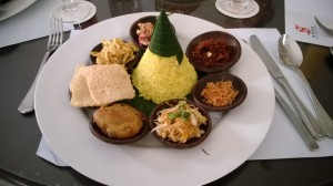 Typical Indonesian meal at the museum restaurant.